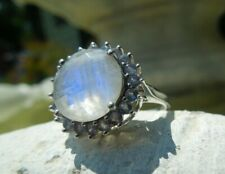 Vintage Sterling Silver Moonstone & Iolite Round Solitaire Ring Sz 8 3/4