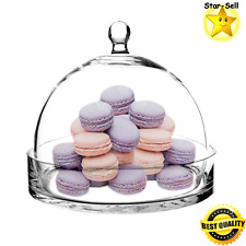 Cloche Bell Glass Dome Tray 8 Inch Bell Jar Clear Lid Cover Display Home Decor