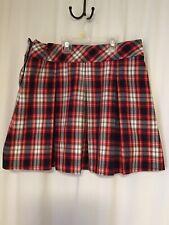 Becky Thatcher Red Plaid Pleated School Uniform Skirt Teen Women's 12 1/2