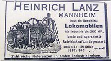Heinrich Lanz Lokomobilen Mannheim Reklame Inserat Werbung Anzeige 1898