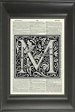 ORIGINAL - Letter M Alphabet Vintage Dictionary Art Print - Wall Hanging - 534D