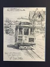 Hyde St. Cable Car San Francisco Don Davey Lithograph Matted 1977
