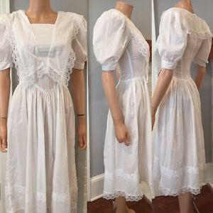 GUNNE SAX VINTAGE JESSICA McCLINTOCK PRAIRIE WHITE COTTON DRESS sz 3/4
