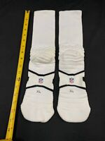 ALL WHITE MIAMI DOLPHINS GAME USED NFL NIKE EQUIPMENT SOCKS SIZE X-LARGE MID