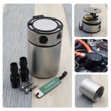 Universal Car Racing Baffled 2-Port Oil Catch Can Tank Air-Oil Separator Silver