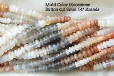 "Multi colored Moonstone Beads Button cut 6mm in a 14"" Strand"