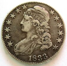 1833 SILVER UNITED STATES CAPPED BUST HALF DOLLAR COIN EXTREMELY FINE CONDITION
