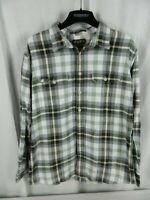Eddie Bauer Tall XLarge Flannel Long Sleeve Mens Button Front Green Brown White
