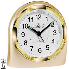 Atlanta 1404/9 Wecker Funk Funkwecker analog golden mit Licht Snooze.