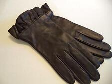 Ladies Ruffle Genuine Leather Gloves,Black,Small-SEE DESCRIPTION FOR PICS