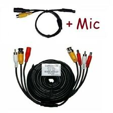 33ft 3-in-1 (Power+Audio+Video) Cctv Surveillance Camera Cable + Mic