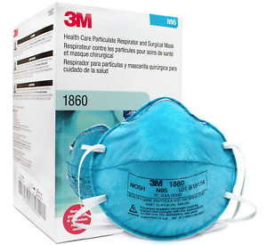 Authentic 3M Made in USA Box of 20 N Grade 95 1860 Cone Molded ASTM Level 3 Blue