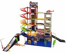 KIDS CHILDRENS 6 LEVEL CAR PARK GARAGE PETROL STATION PLAY SET TOY+ 5 VEHICLES