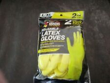 Grease Monkey Pro Cleaning reusable yellow latex gloves 2 pair size L/XL