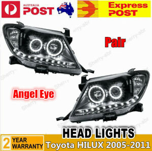 For Toyota Hilux 05-11 LH+RH Pair of Angel Eye LED HeadLight Projector Black DRL