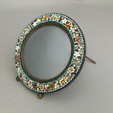 New ListingVtg Italian Convex Glass Micro Mosaic Flowers Round Miniature Picture Frame