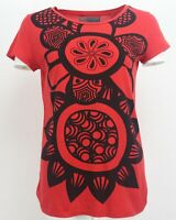 Zara Red Short Sleeve Women's Casual Organic Cotton Summer Top T-Shirt Size:L