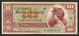 USA 1954, Military Payment Series 521, 10 Dollars, M35, VF