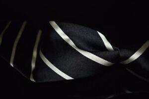 #1 MENSWEAR Ralph Lauren Purple Label England Black Thick Satin Striped Silk Tie