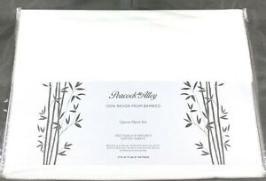 Solid White QUEEN 100% BAMBOO Substantial Sheet Set PEACOCK ALLEY Silky Soft New