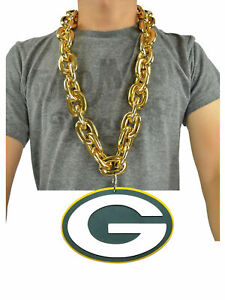Green Bay Packers NFL GOLD FanChain Necklace Big Rope Chain 3D Foam Magnet