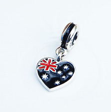 "Genuine Pandora Charm Bead ""Australia Heart Flag"" 791415ENMX - retired"