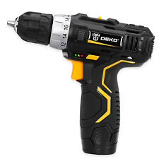 "DEKO 12V DC Li-Ion Battery 3/8"" Cordless Hammer Drill Electric 2-Speed Driver"