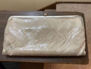 Hobo International Lauren Embossed Leather Double Frame Clutch Wallet White