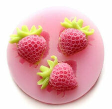 Strawberry 3 Cavity Mini Silicone Mold for Fondant, Gum Paste, Chocolate