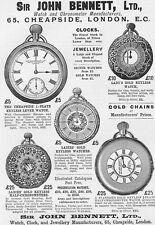 SIR JOHN BENNETT Ltd Watch & Clock Makers - Victorian Advert 1893