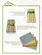Stylish Bamboo Placemat Tan Border by Asian Home, 4pc (Multi-Color)