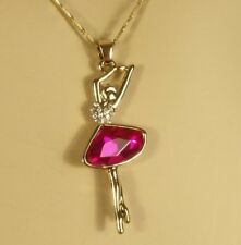 Gold Hot Pink Crystal Ballerina Ballet Dancer Pendant 15 1/2 in. Necklace 18kgp