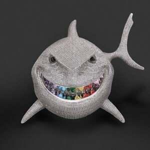 Fantastic Shark With Smile Multi Color Gemstone Teeth & Sparkling CZ Men Pendant