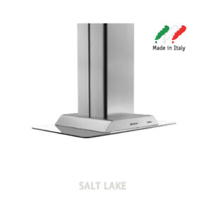 New Elica Salt Lake 90cm Stainless Steel + Glass Powerful 490m3/Hr Island Hood