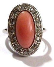 bague bijou vintage couleur argent imitation porcelaine rose cristal diamant 55