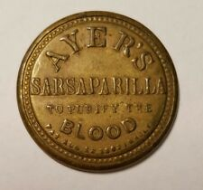 1862 Ayer's Sarsaparilla 3 Cents Encased Postage Currency Beautiful High Grade