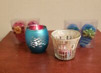YANKEE CANDLE Set Of Two Flip Flop Candles And Two Tea Light Candle Holders