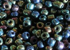 1/2 Lb/ Half Pound - Glass Seed Beads- 3mm to 4mm Size- Iridescent Peacock Mix