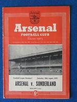 Arsenal v Sunderland 30/8/52 Programme