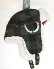 WOOLRICH WOOL BOMBER AVIATOR TRAPPER HAT Large GREEN BLACK PLAID NEW