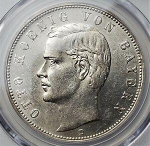 5 Mark 1908 D Otto Kingdom of Bavaria German States AU58+ / PCGS Only 576,579 R!