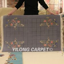YILONG 3'x4.7' Hand knotted Wool Carpet Plaid Woollen Chinese Art Deco Area Rug