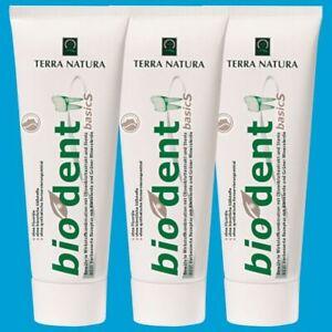 BIODENT basicS 3 x 75 ml Zahncreme Tuben NEU: mit Kieselerde