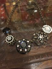 "Lia Sophia Curio Necklace 17-20"" Cut Crystals Antiqued Gold Tone"