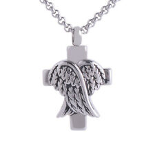 Cross Wings Cremation Ashes Memorial Urn Stainless Steel Charm Pendant (068)