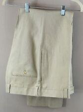 35 R Calvin Klein Tan Flat Front Men's Dress Pants 35W x 28 100% Linen