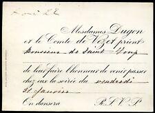 Bourgeoisie . Noblesse. carte d'invitation Mme Dugon et le Comte de Vezet
