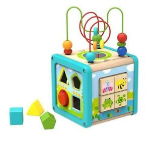 NEW Tooky Toy Wooden Activity Play Cube with Bead Maze - Shape Sorter