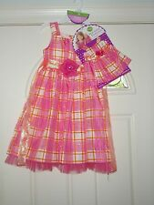 Dollie & Me Girl and Doll Pink Plaid Fancy Dress  SZ 7 KIDS RETAIL $66.00 W/TAG