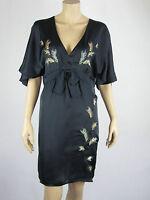 Fleurette by Fleur Wood Ladies Peacock Feather Dress size 6 Colour Black